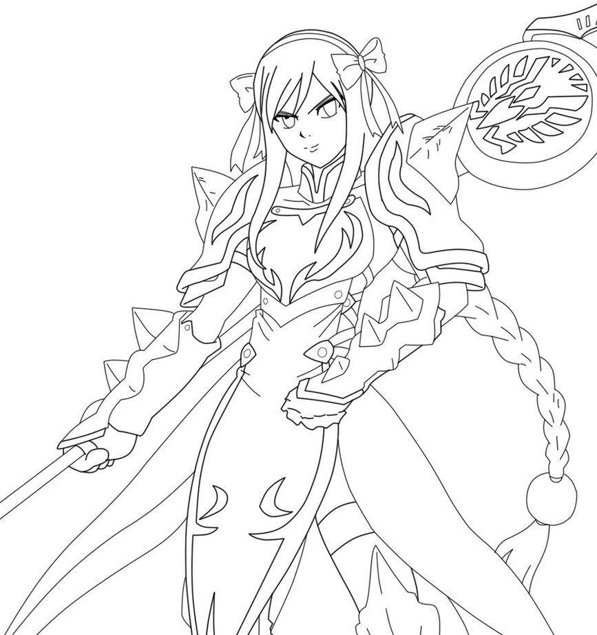 Erza Scarlet's Lightning Empress Lineart by kuroshiro05 ...