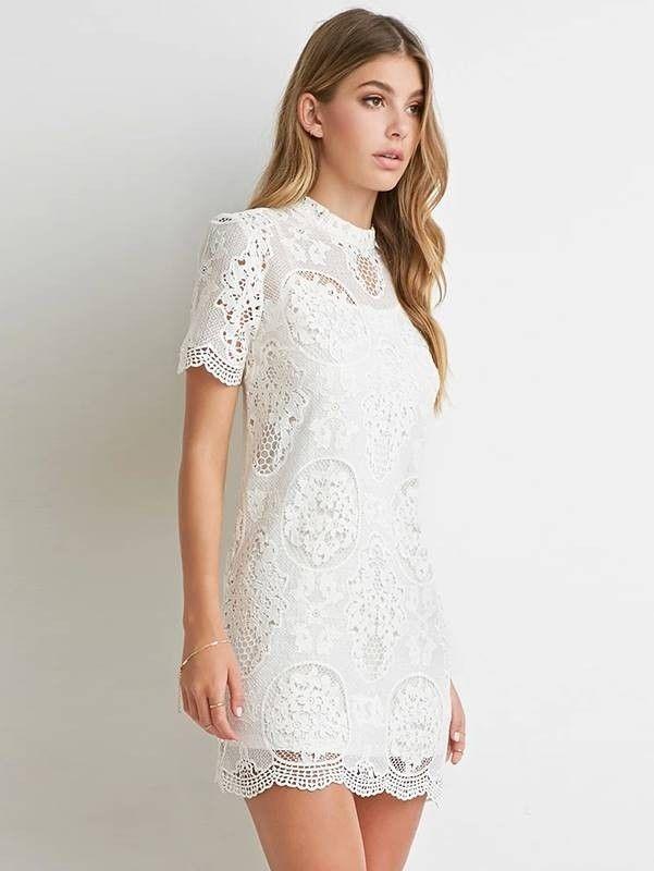 c9fe0a14ae Vestido de Renda Branco Clássico - Ref.715 - comprar online ...