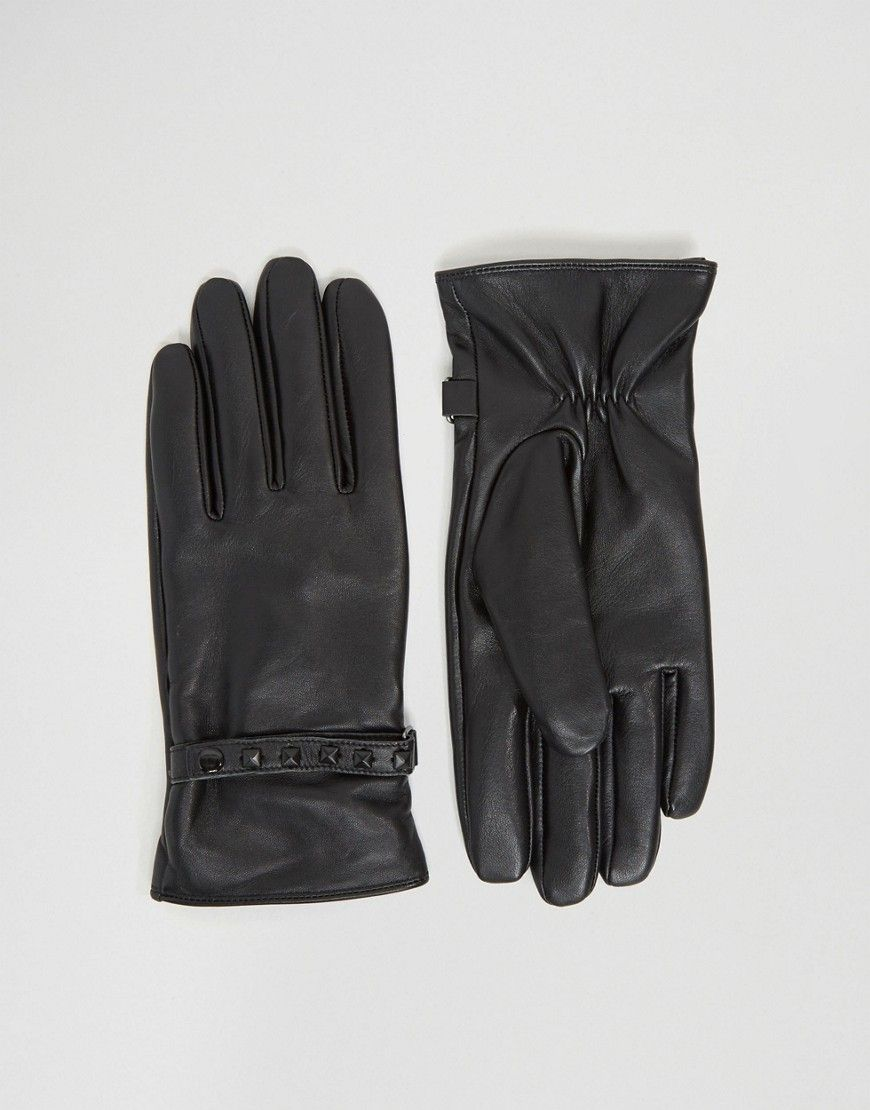 ASOS Leather Gloves With Studding In Black - Black