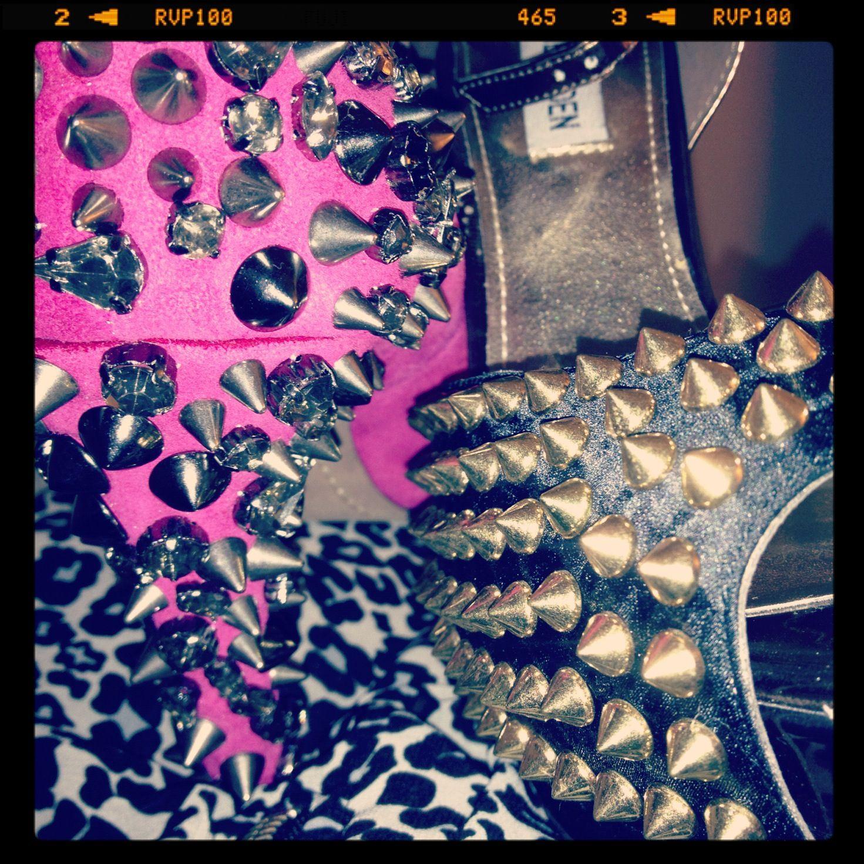 #heels #spikes #stevemadden #samedelman #pink #gold #gems #leopard