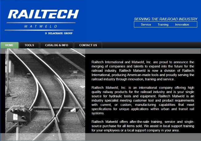 Railtech Matweld is one of 3 sites we designed for the French based company Railtech International.  See this site at http://www.matweld.com