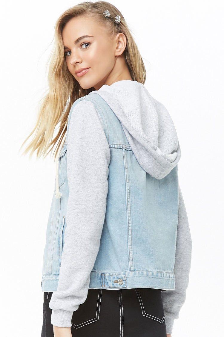 Hooded Combo Denim Jacket Denim Jacket Fashion Clothes [ 1125 x 750 Pixel ]