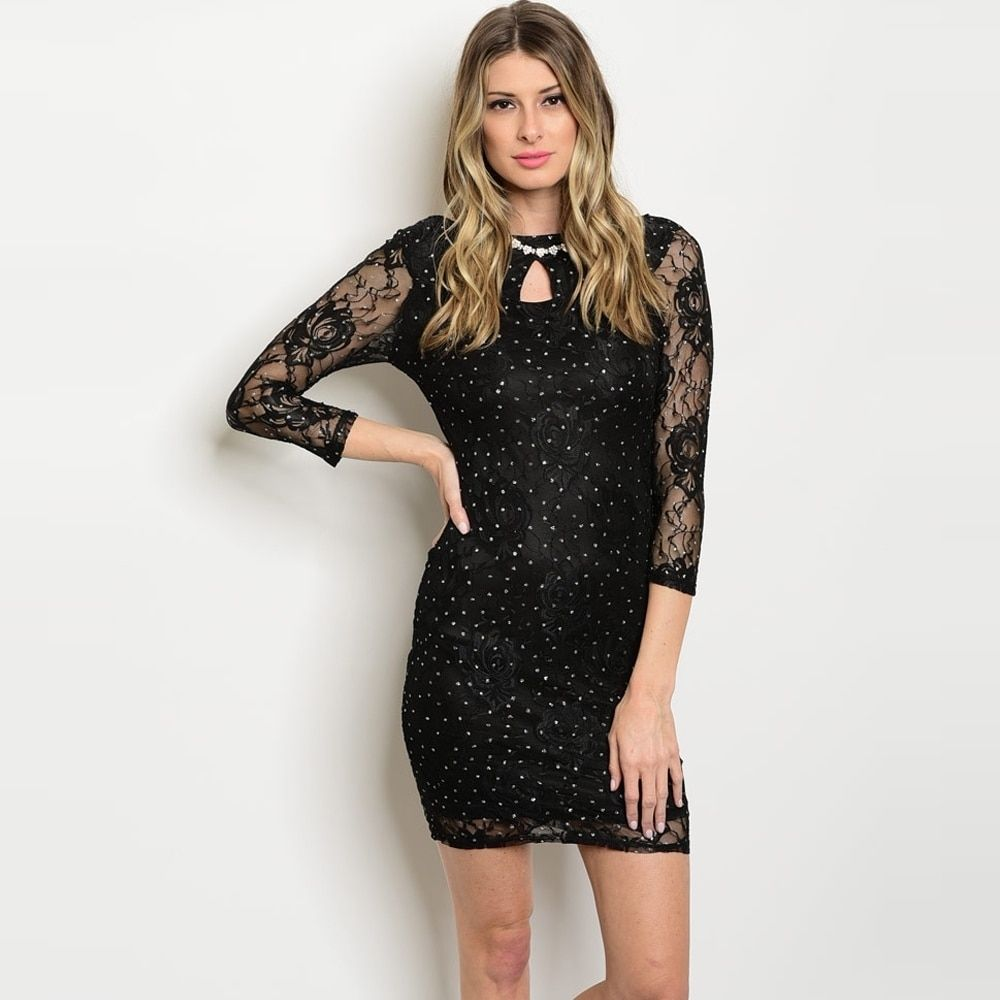 Shop the trends womenus sleeve mini dress with sparkle detail