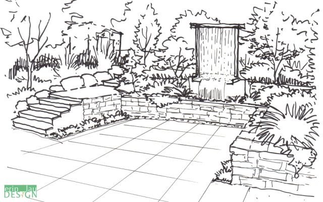 Vertical Waterfall Patio Sketch Garden Drawing Garden Design Garden Illustration
