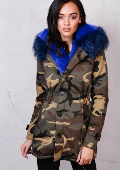 8fe099bb10d27 Blue Camo Faux Fur Hooded Full Padded Parka Coat Khaki Green in 2019 ...