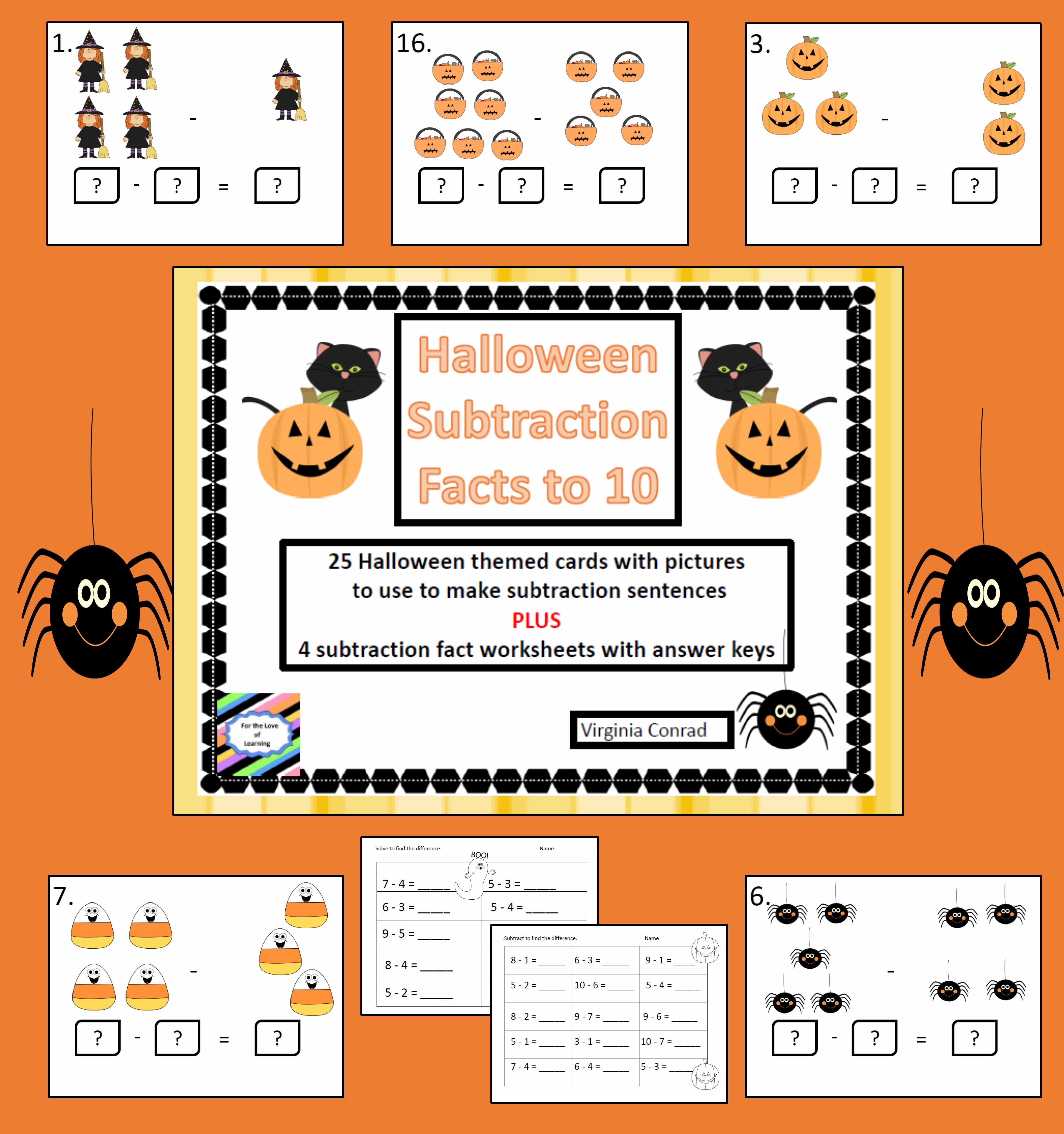Halloween Subtraction Facts To 10