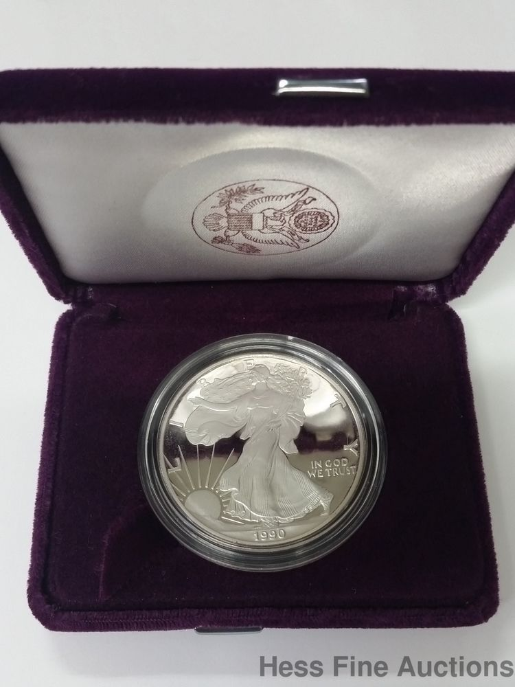1990 1 Oz Fine Silver 99 9 American Eagle One Dollar Proof Coin Bullion Silver Investing Silver Coins Silver Bullion