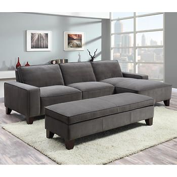 orion fabric chaise sectional with ottoman house in 2018 rh pinterest com Sectional Sofa with Ottoman 2 Seat Chaise with Ottoman