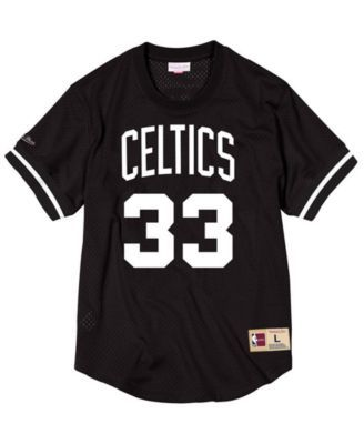 5b009a6b8 Mitchell   Ness Men s Larry Bird Boston Celtics Black   White Mesh Name and Number  Crew Neck Jersey - Black L