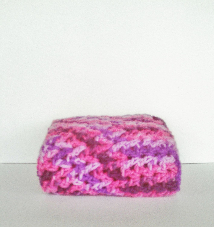 Pink and Purple Infinity Scarf Crochet Neckwarmer Cowl Winter Accessory Fashion. $22.00, via Etsy.