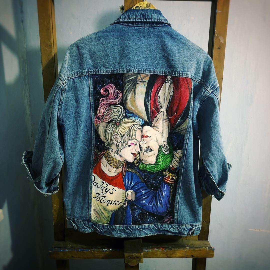 95fd38da86ee3 Роспись джинсовки харли и джокер | Роспись джинсовок в 2019 г ...