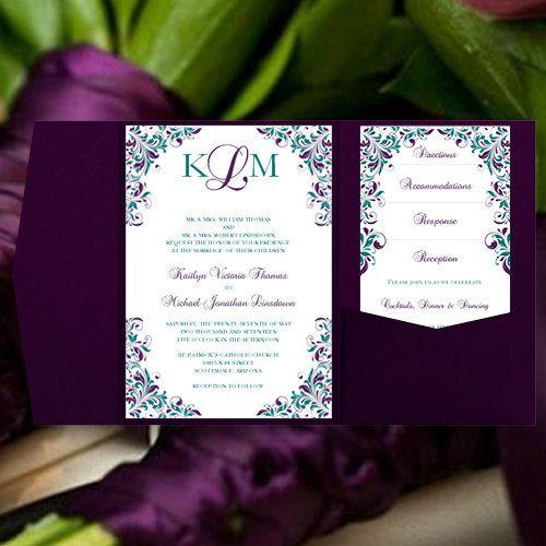 pocketfold wedding invitations kaitlyn purple teal printable