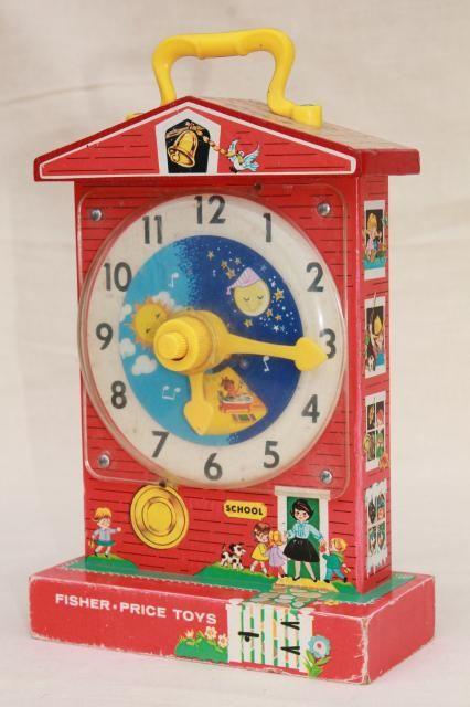 original 60s 70s vintage fisher price toy schoolhouse clock teaching rh pinterest com