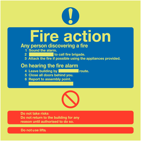 Nite Glo Photoluminescent Fire Action Signs Workplace Safety