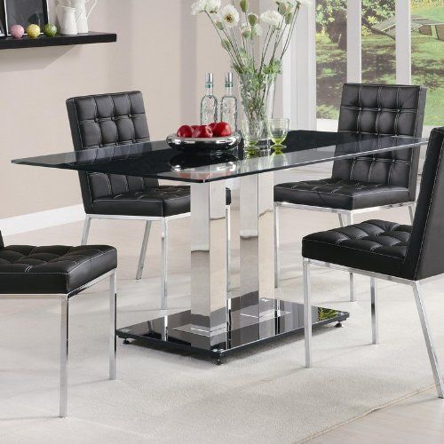 32 Stylish Dining Room Ideas To Impress Your Dinner Guests: Coaster Dining Table With Tempered Glass Top In Chrome