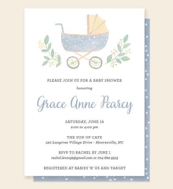 pram baby shower invitation by leveret paperie stroller shower