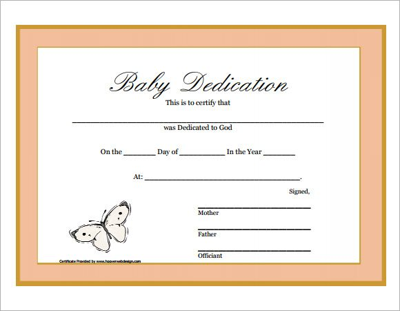 Baby Dedication Certificate Printable  ChildrenS Ministry Ideas