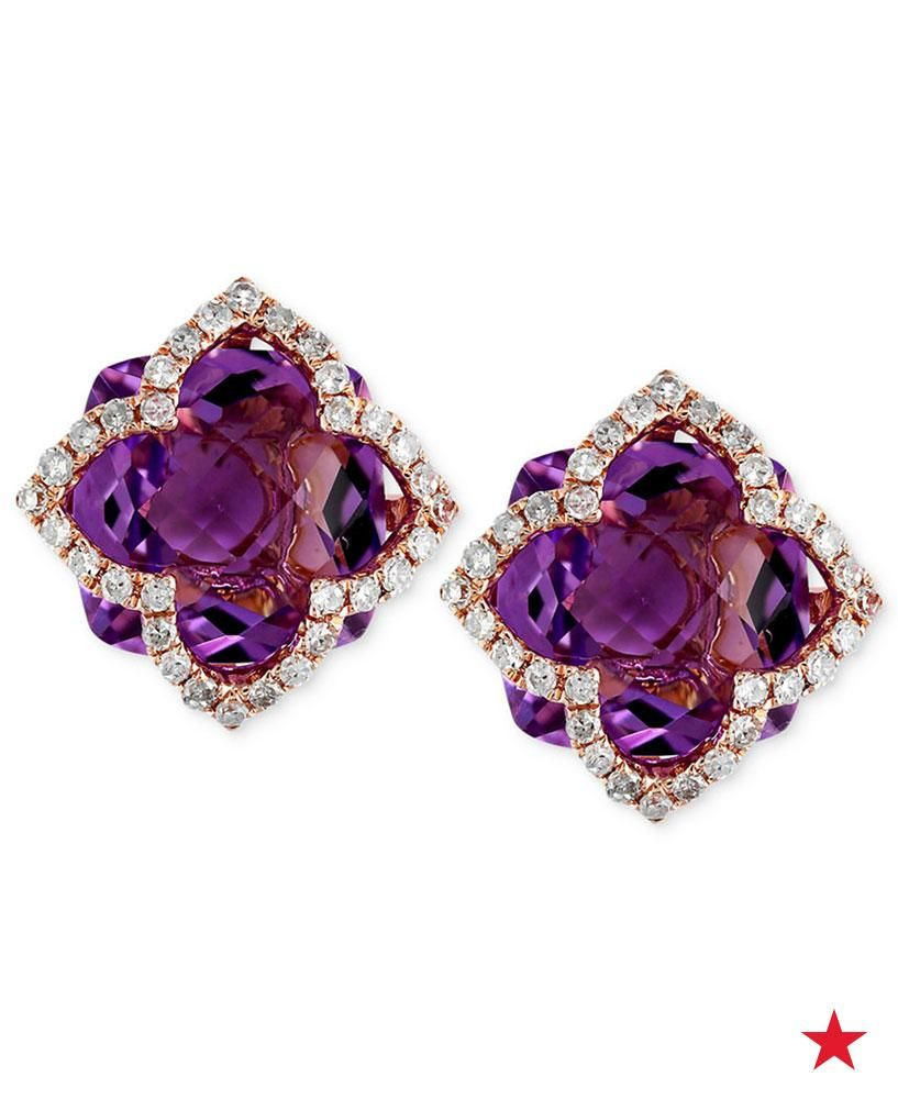 a8cef4908 Square-cut amethyst gems (6-1/4 ct. t.w.) are set on gorgeous  clover-inspired earrings from Lavender Rosé by EFFY. They're finished with  a border of ...