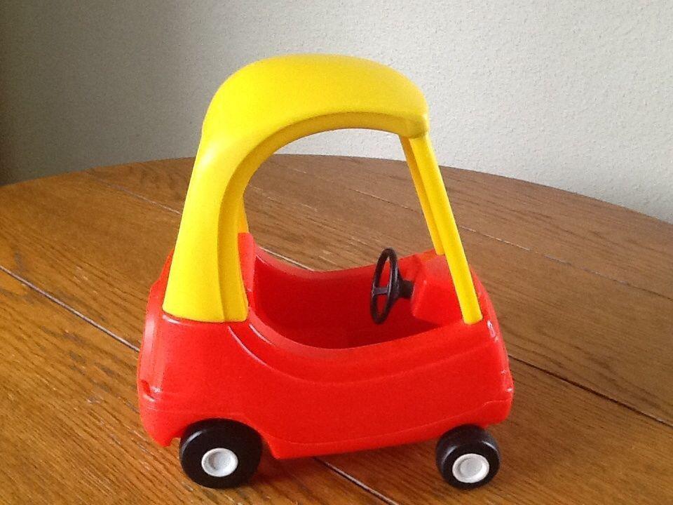 vintage little tikes mini cozy coupe red yellow car dollhouse toy littletikes