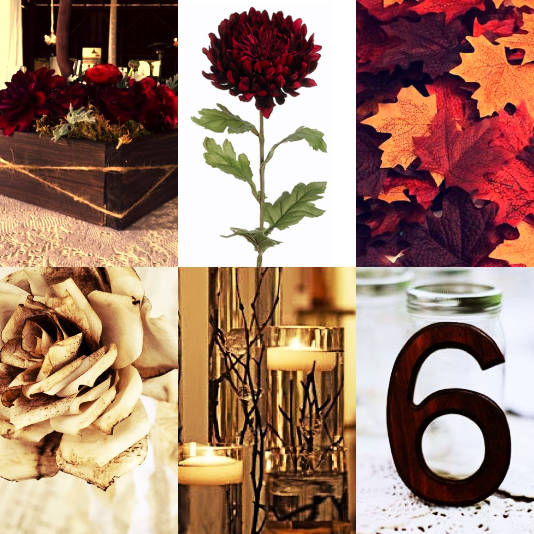 Outdoor November Wedding Flowers: Autumn/Fall Outdoor Wedding Reception, Red Cream And Brown