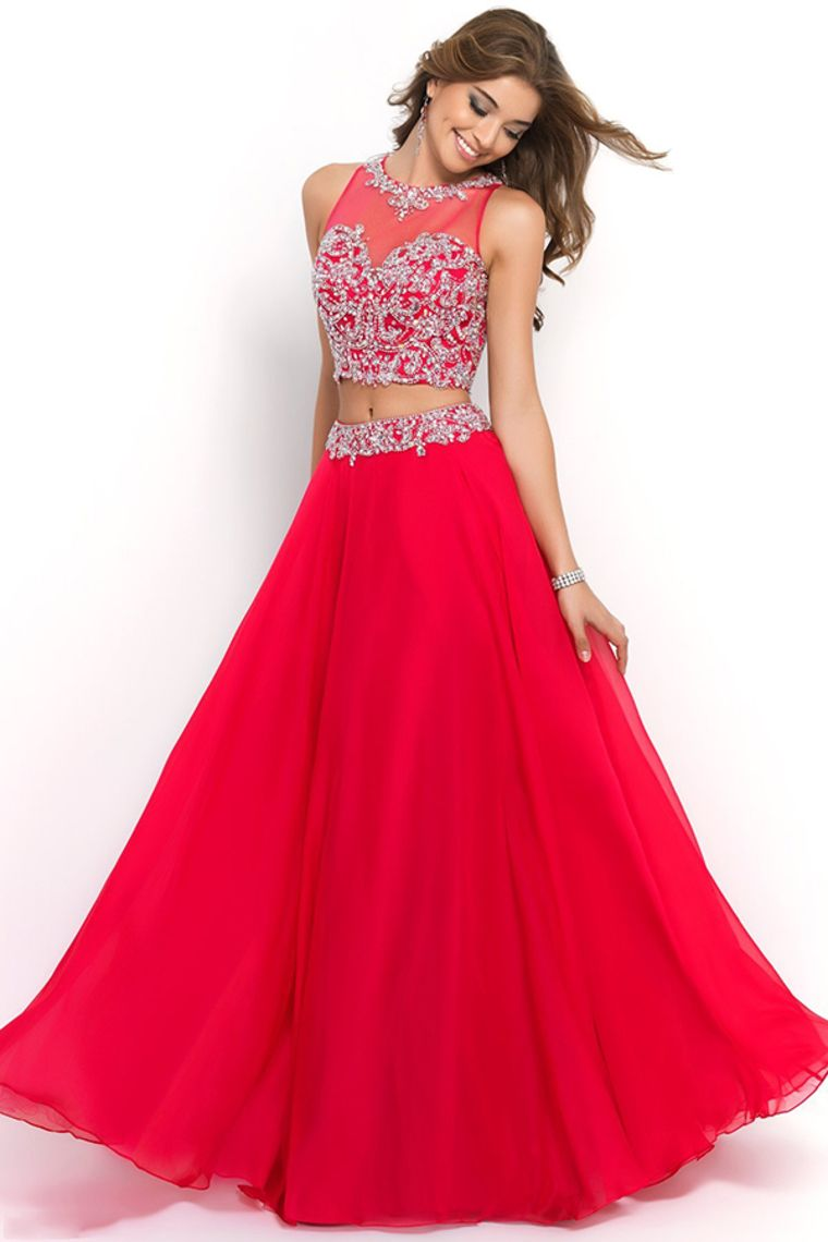 2015 Scoop Prom Dresses A Line Chiffon Beaded Bodice With Long ...