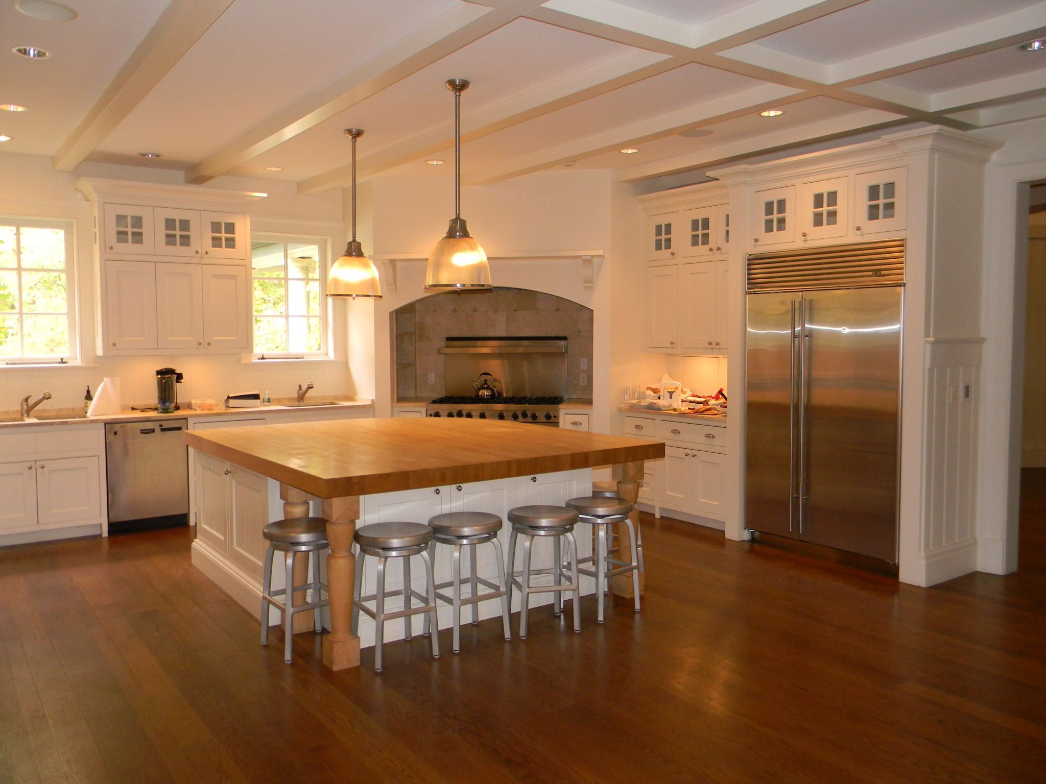 Kitchen Butlers Pantry Custom Shaker Cabinets Painted White With Glass Door Fronts