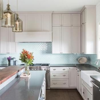 Light Gray Kitchen Cabinets With Aqua Mini Glass Tile Backsplash