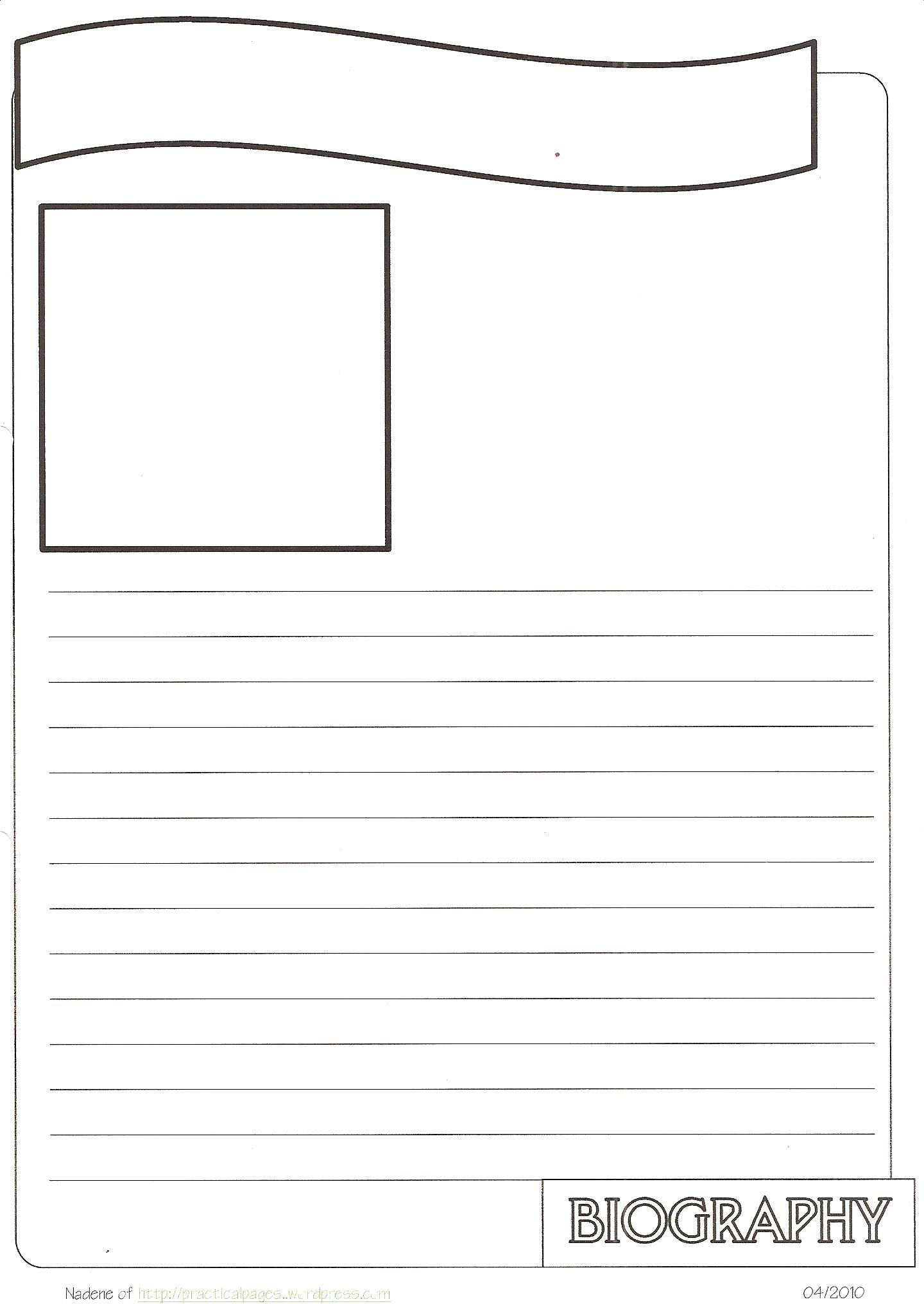New Biography Notebook Page Templates   Biography template [ 2032 x 1440 Pixel ]
