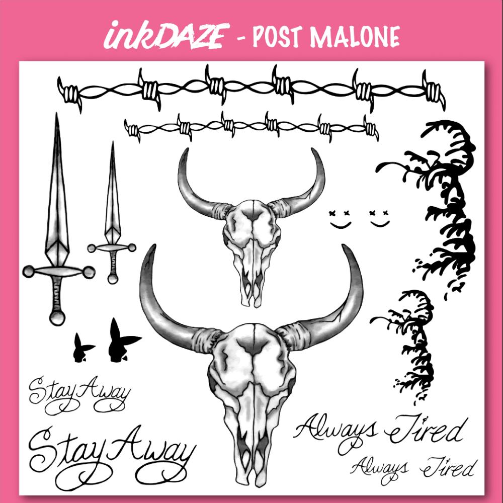 Post Malone Temporary Tattoo Set Post Malone Tattoo Set Temporary Tattoo