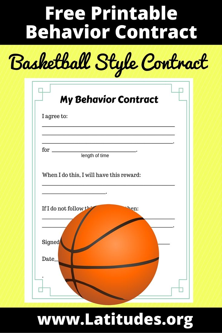 Free Behavior Contract Basketball Style  Behavior Contract