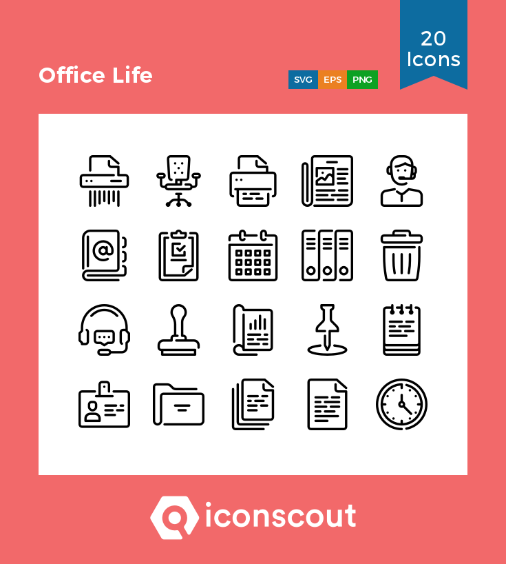 Download Office Life Icon Pack - 20 Line Icons | Icon pack, Icon ...