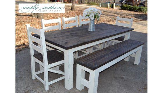 Farmhouse Table w/ Square 4 x 4 Legs (Custom Built) in 2019 ...