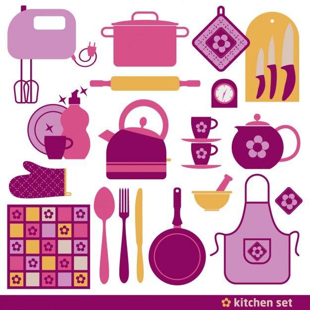 Elementos rosas para cocinar vector gratuito cocina - Flores para cocinar ...