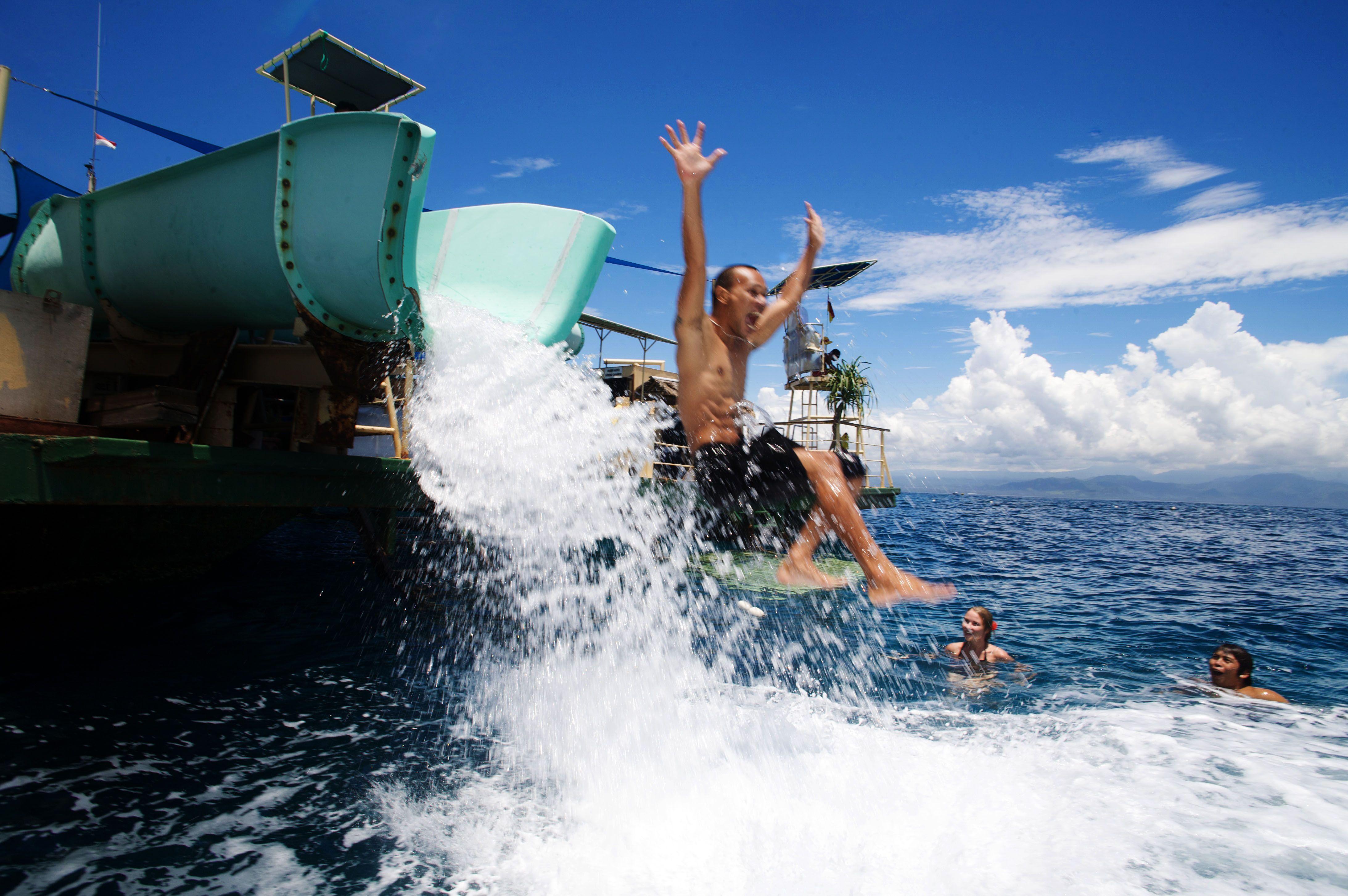 Where Is Bali Hai Island water slide at bali hai cruises pontoon #balihaicruises