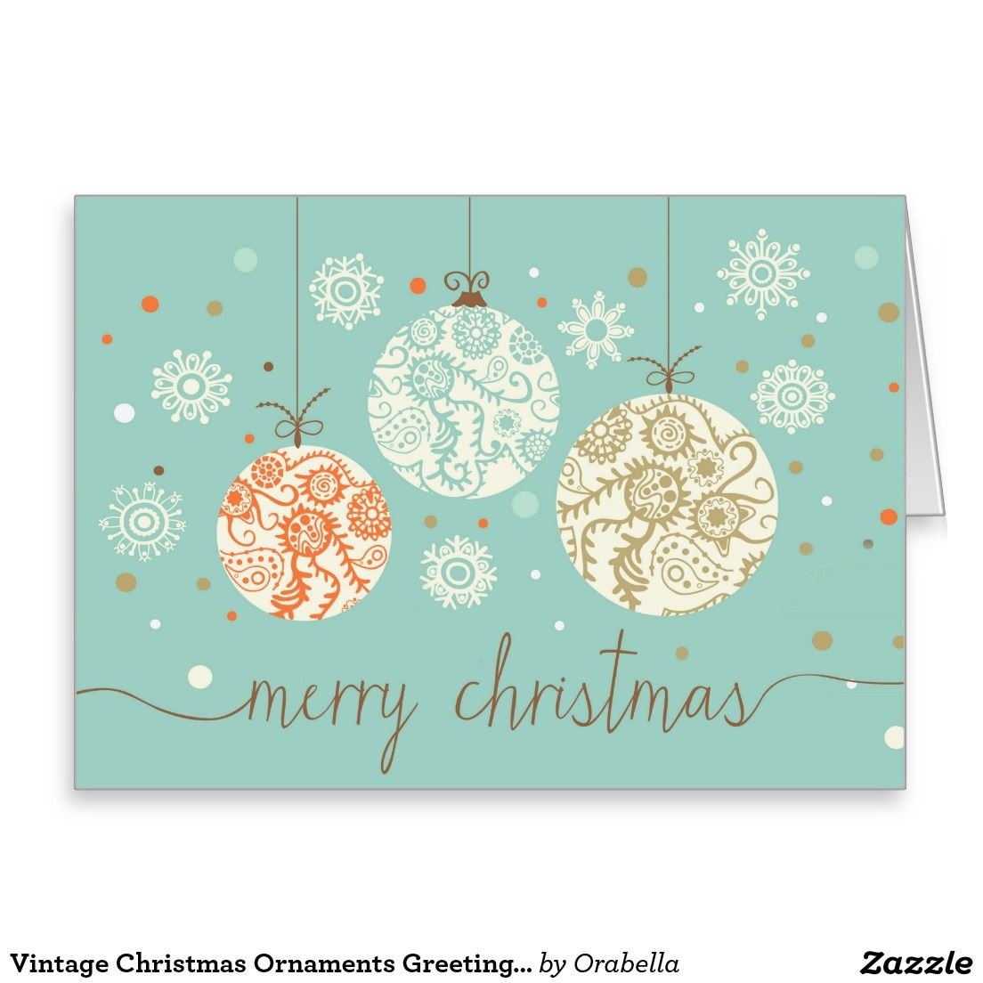 Vintage Christmas Ornaments Greeting Card #zazzle | Christmas Cards ...