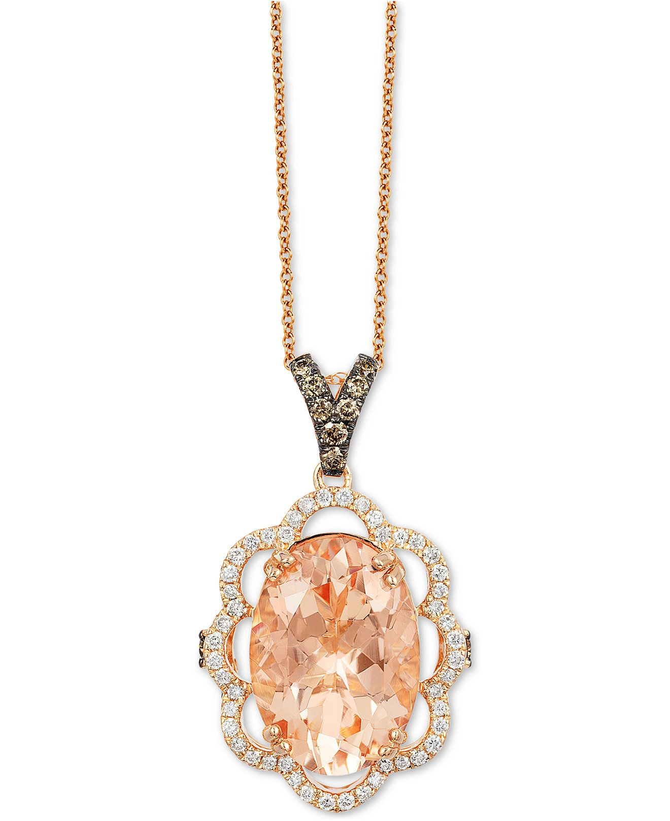 Le Vian Chocolatier Peach Morganite 4 1 3 ct t w and Diamond