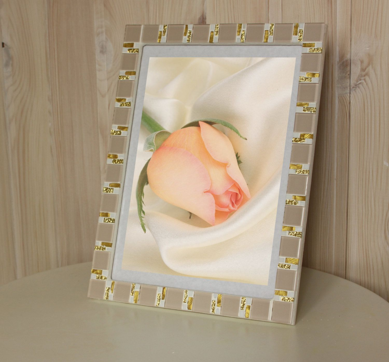 8x12 frame - Mosaic wall photo frame - Beige frame - Photo frame ...