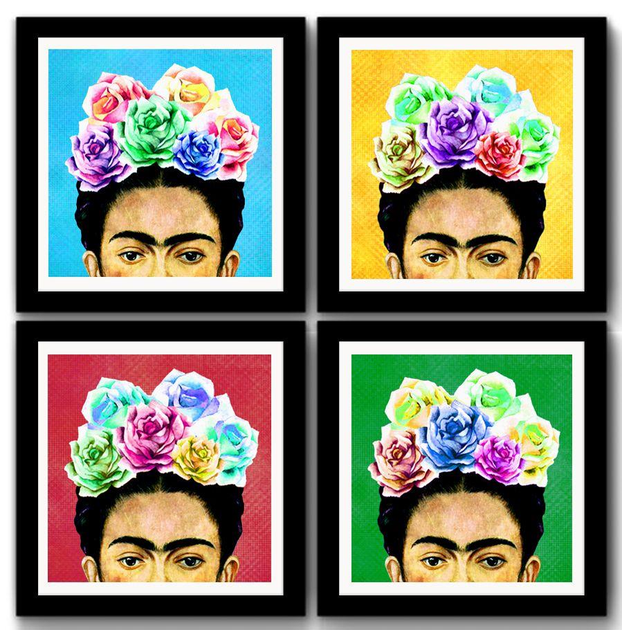 kit-4-quadros-frida-kahlo-pop-art-quadro.jpg (899×910)