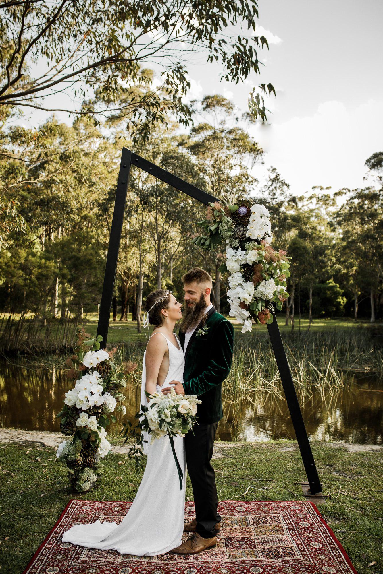 Black Geometric Geo Unique Wedding Arbour Arch Bawley Vale Estate Wedding Wedding Arches Outdoors Bush Wedding Dark Green Wedding