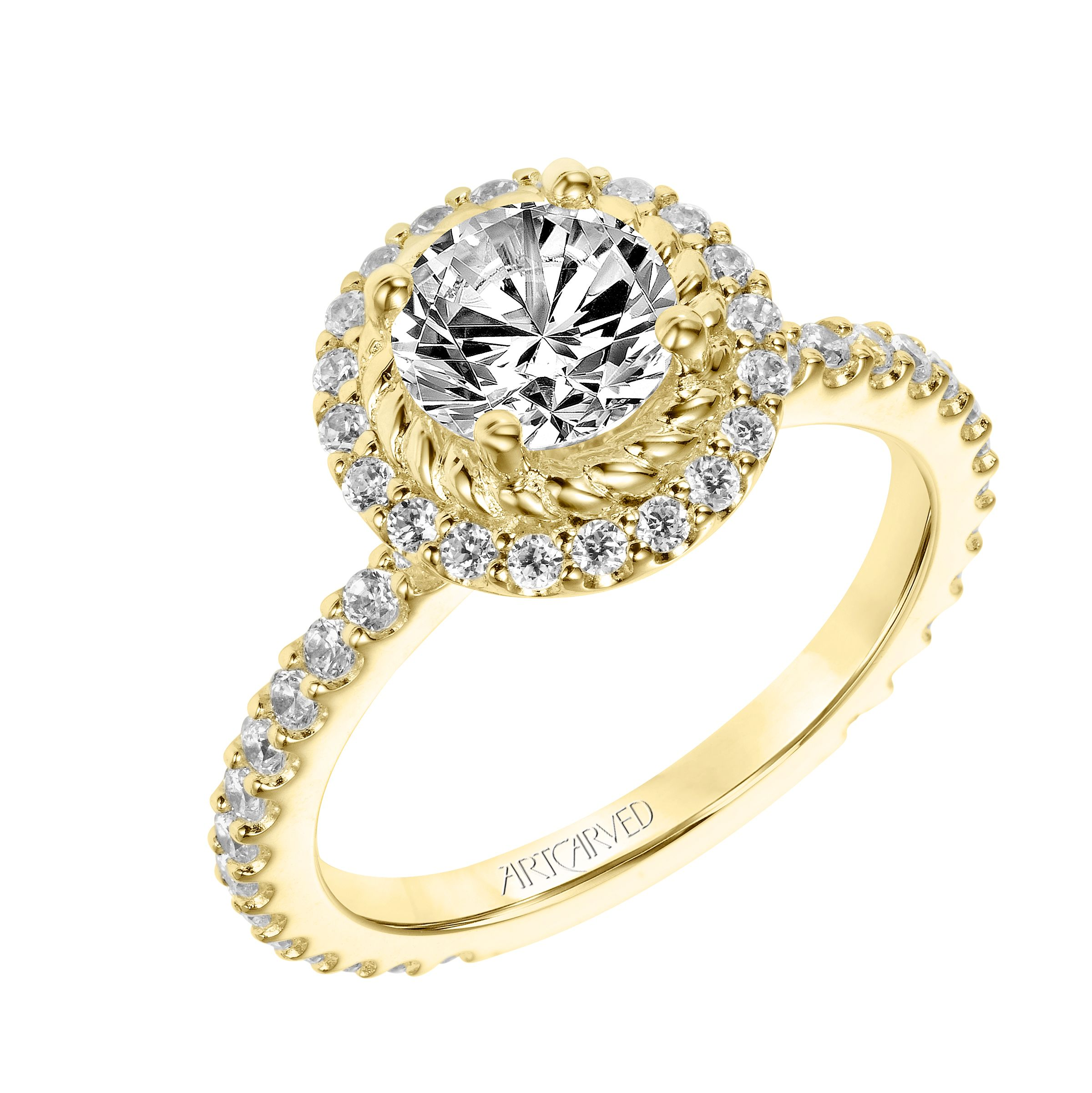 New for our Spring collection! Cara: Contemporary Diamond & Rope Halo Engagement Ring with Diamond Shank and Diamond Details in Gallery #artcarvedbridal #spring #yellowgold #engagementring