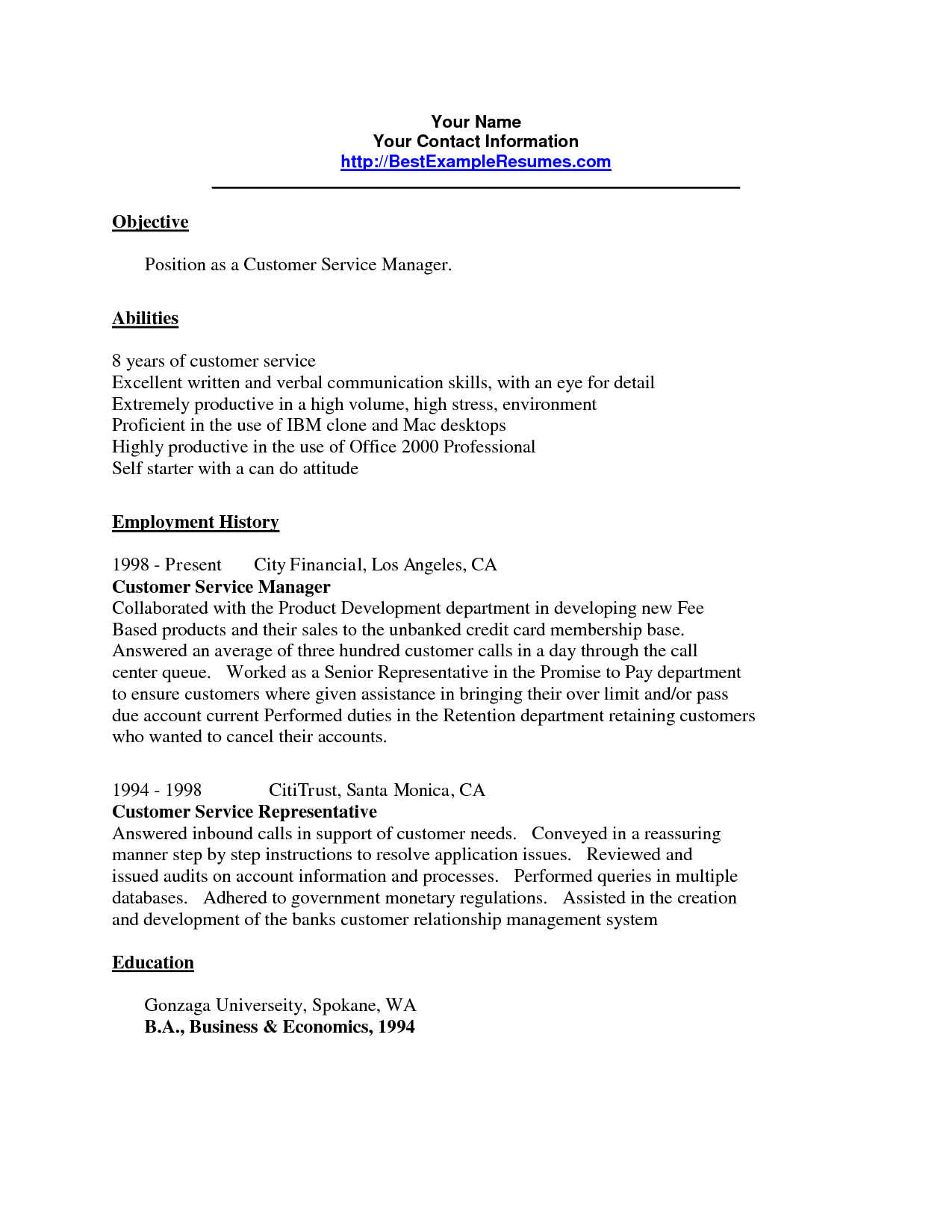 Customer Service Resume Sample customer service agent