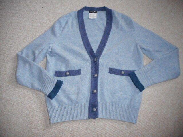 013255485ff Womens Sweater-CHANEL-light dark blue 100% Cashmere buttondown ...