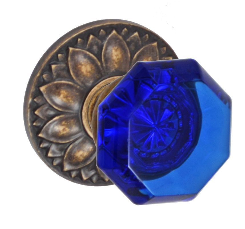 Fusion D-23-D8-E Victorian Cobalt Glass Style Single Dummy Door Knob with Floral Medium Bronze Knobset Single Dummy