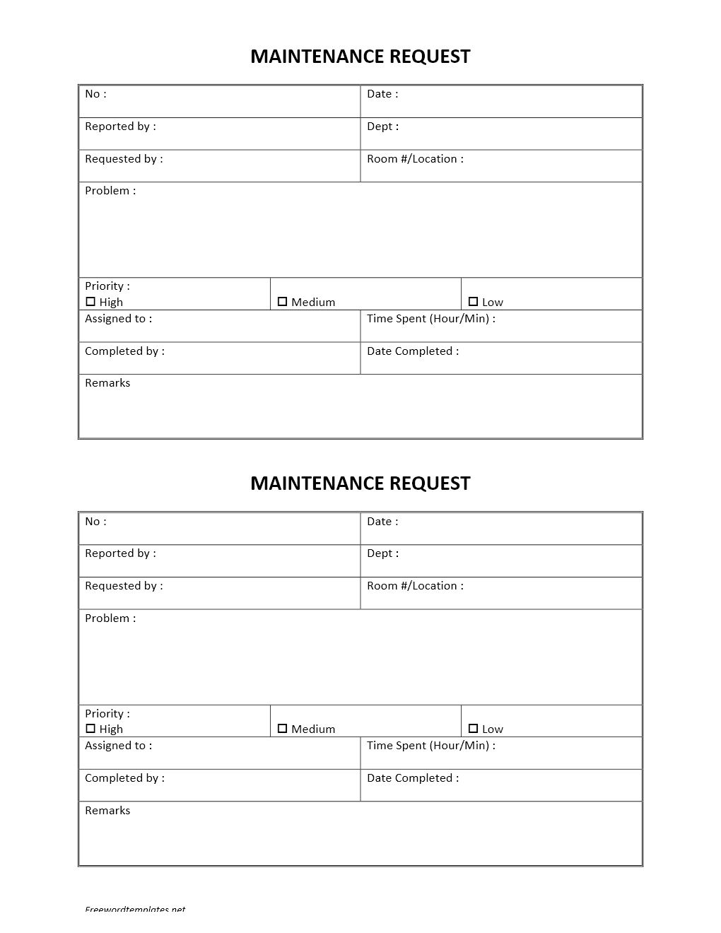 hotel maintenance request form pertaining to maintenance