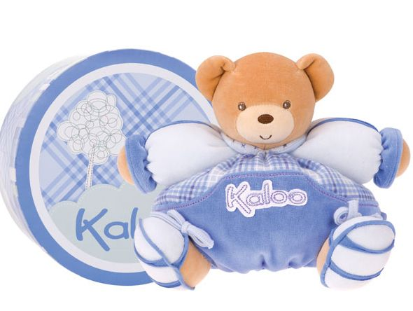 Kaloo Blue Medium Chubby Bear, what a great first bear to give.  Light, soft and safe from birth.