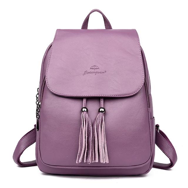 Women Leather Backpacks Female Shoulder Travel Bags Large Capacity Backpack For Girls Ladies Bagpack Travel Woman purple backpacks