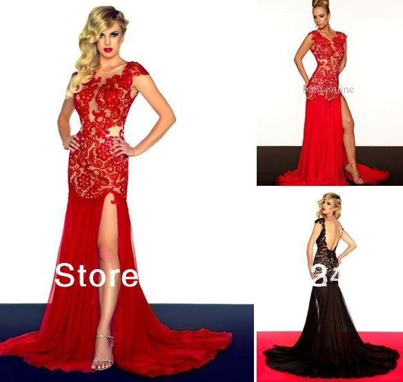 Wholesale - 2013 Special Occasions Prom Dresses Cap Sleeve Red/Black ...