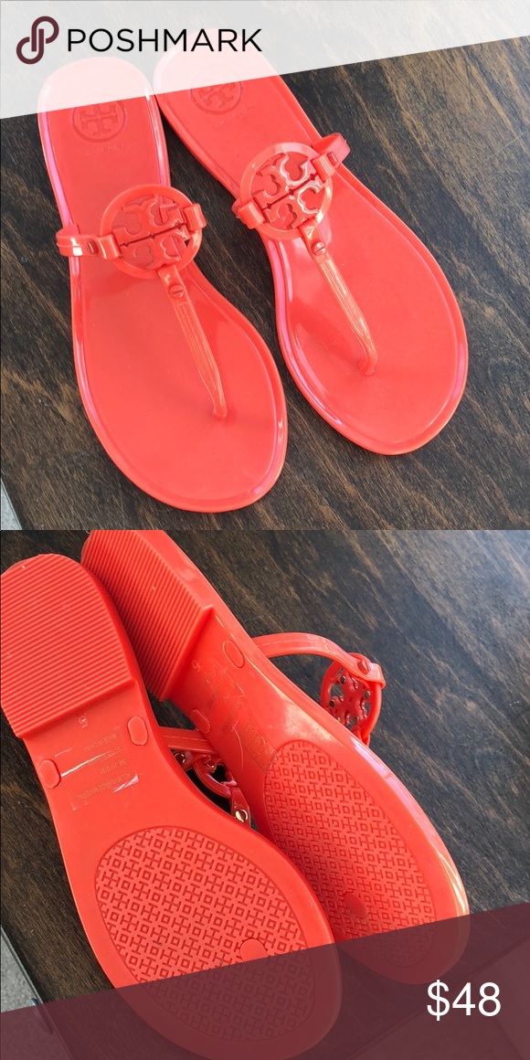 24b4b4ffd Tory Burch mini Miller jelly sandal Never worn orange poppy color jelly  flat sandal Tory Burch
