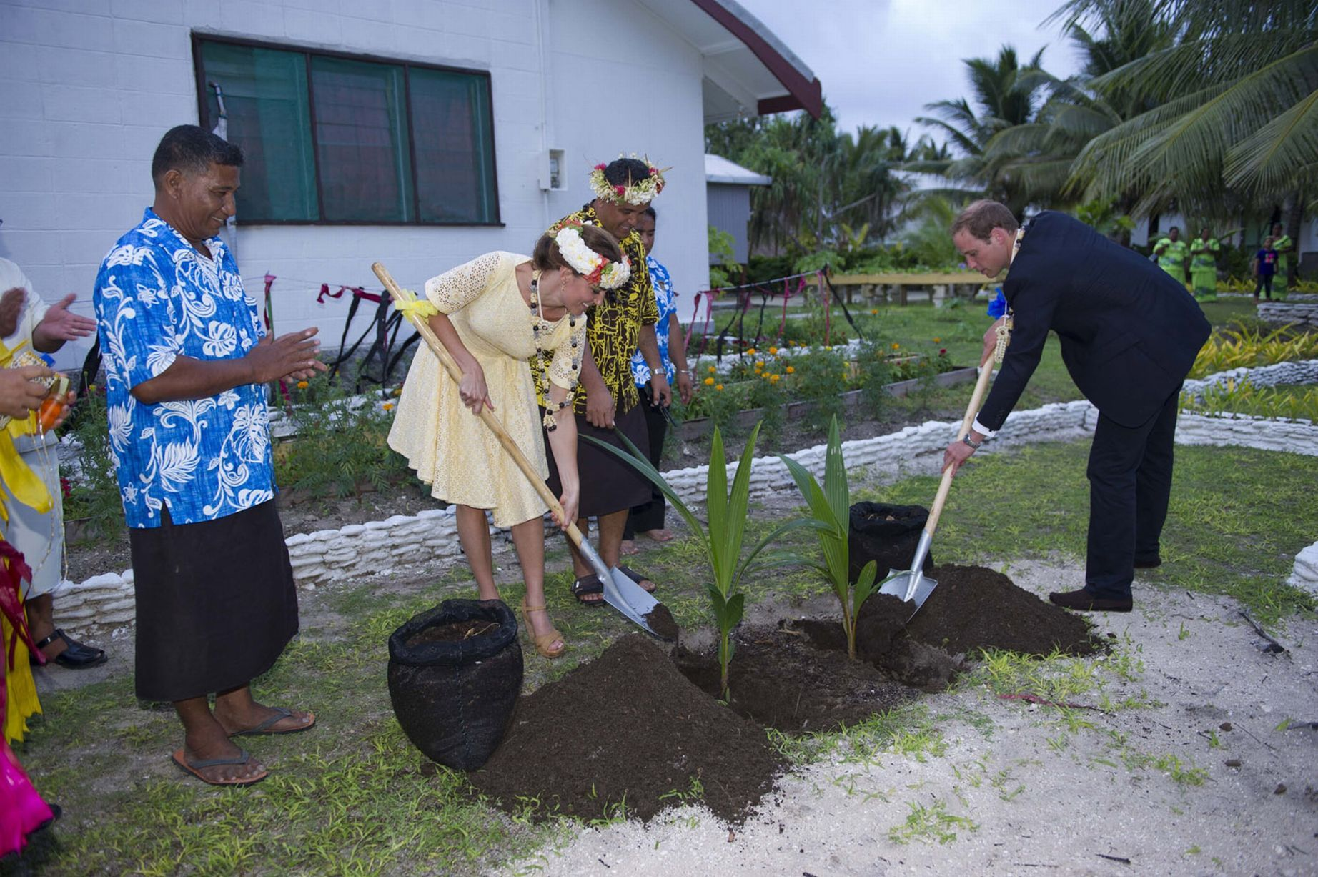 Prince William and Kate Middleton plant coconut trees during a visit to a Tuvalu village