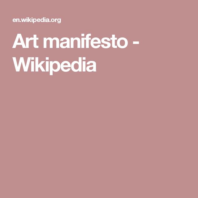 Art manifesto - Wikipedia